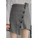 Retro Grey Plaid Pattern Irregular Button Down High Rise Mini Asymmetrical Skirt