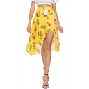 Summer Holiday Bohemian Style Floral Pineapple Printed Slit Front Flowy Beach Skirt