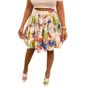 Fashion White Cartoon Graffiti High Waist Mini A-Line Pleated Skirt