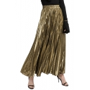 Fashion Metallic Color High Rise Elastic Waist Maxi A-Line Pleated Skirt