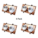 (4 Pack)8*4 Inch Crystal Recessed Light Kitchen Energy Saving Amber Rectangle Flush Mount Recessed in White/Warm