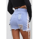 Light Blue Sexy Hollow Out Lace-Up Side Distressed Ripped Raw Hem Mini Bodycon Denim Skirt