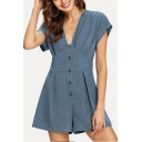 Women's Summer Simple Plain V-Neck Short Sleeve Button Front Casual Rompers
