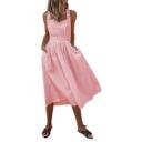 Women's Retro Vintage Square Neck Sleeveless Simple Plain Midi A-Line Pleated Swing Dress