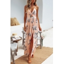 Summer Fashion Floral Pattern Halter Neck Twist Cutout Waist Sexy Split Side Holiday Beach Maxi Dress