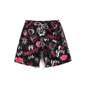 Mens New Stylish Cute Cartoon Letter Graffiti Drawstring Waist Black Swim Shorts
