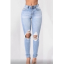 Trendy Destroyed Ripped Big Hole Knee Womens Blue Classic Fit Jeans