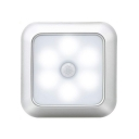 3/6 Pack Silver/White Counter Lighting Infrared Sensing Auto Dusk to Dawn Sensing 6 LED Square Night Light