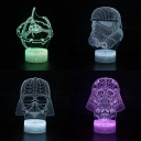 Touch Sensor 3D Night Lamp Battery USB Charging 7 Color Changing Movie Element Pattern LED Bedside Light