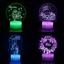 Festival Decor Touch Sensor LED Night Light 7 Color Changing Christmas Element Pattern 3D Bedside Lamp