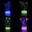 Cartoon Bear Pattern 3D Night Light 7 Color Changing Touch Sensor LED Visual Nightlight for Bedroom Gift