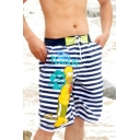 Men's Cool Fast Drying Cartoon Striped Pattern Swim Trunks with Side Pockets