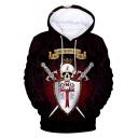 Knights Templar Cool Skull Printed Long Sleeve Pullover Loose Fit Hoodie