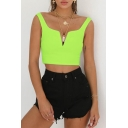 Summer New Trendy Solid Color V-Neck Sleeveless Cropped Cami Top for Women