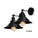 Pack of 2 Metal Wall Lamp Dining Room Restaurant 1 Light Antique Style Metal Sconce Lamp in Black