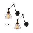 2 Pack Modern Black Wall Lamp with Clear Glass Shade 1 Light Metal Adjustable Sconce Light for Restaurant Bar