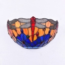 Colorful Dragon Pattern Wall Lamp 1 Light Tiffany Style Glass Sconce Light for Shop Restaurant
