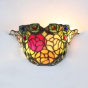 1 Light Flower Shape Wall Lamp Tiffany Style Antique Stained Glass Wall Light for Bathroom Foyer