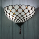 Dining Room Conical Wall Lamp Frosted Glass Tiffany Style Antique Black Wall Light with Crystal Decoration