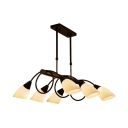 Frosted Glass Metal Pendant Light Living Room 6/8/10 Lights Modern Island Light in White and Black