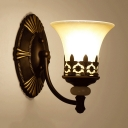 Bedroom Dining Room Wall Light Frosted Glass Metal 1/2 Lights Vintage Style Bell Shade Sconce Light