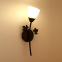 Metal Glass Flower Shape Wall Sconce Dining Room Bedroom 1/2 Lights Sconce Light in Black/Gold