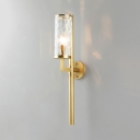 Classic Cylinder Sconce Light 1/2 Lights Metal and Dimpled Glass Wall Sconce in Brass for Study