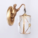 Vintage Style Cylinder Shade Sconce Light Metal 1 Light Brass Wall Light with Mermaid Decoration for Living Room