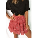 Womens Summer Trendy Floral Polka Dot Printed Tied Waist Mini A-Line Beach Skirt