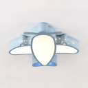 Cute Blue/White Flush Mount Light with Plane Shade Metal Acrylic White/Third Gear/Stepless Dimming Ceiling Light for Kids Room