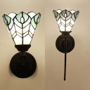 Stained Glass Bloom Pattern Wall Light Bedroom 1 Light Mediterranean Style Sconce Light with Curved/Twist Arm