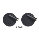 (2 Pack)Wireless Round Canopy LED Wall Light Wireless Black/White High Brightness LED Spot Light with Warm Lighting