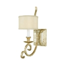 Fabric Metal White Drum Sconce Light Study Bedroom 1/2 Lights Vintage Style Wall Lamp