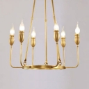 Brass Round Chandelier Light 6/8 Lights Elegant Metal Wall Light with Fake Candle for Kitchen