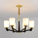 6/8/12 Lights Up Lighting Chandelier Vintage Glass Metal Hanging Light in Black for Dining Room
