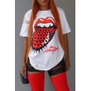 Streetwear Girls Cool Red Tongue Lip Printed White Oversized T-Shirt