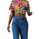 Womens Summer Street Fashion Unique Colorblock Check Printed Short Sleeve Tee