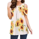 Fashion Sunflower Printed Cold Shoulder White Casual T-Shirt