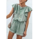 Women's Summer Fashion Green Solid Color Round Neck Ruffled Sleeve Drawstring Waist Relaxed Romper Playsuit