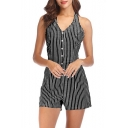 Stylish Vertical Striped Printed Halter V Neck Button Front Romper for Women