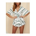 Womens Sexy V-Neck Open Back Fashion Striped Printed Layered Ruffle Romper