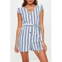 New Trendy Vertical Stripe Ruffled Hem V-Neck Button Front Tied Front Womens Casual Romper Playsuit