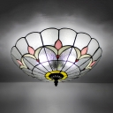 Bedroom Flower Ceiling Lamp Stained Glass 3 Lights European Style Flush Mount Light