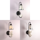 Tiffany Style Lotus Wall Light with Angel/Bird Decoration 1 Light Glass and Resin Sconce Light for Study