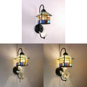 Tiffany Style Colorful Wall Lamp House Shape Stained Glass and Resin Sconce Light with Bird/Angel Decoration for Cafe