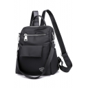 New Fashion Black Plain Oxford Cloth Convertible Zipper Shoulder Bag Backpack 24*13*28 CM