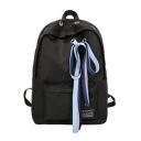 Chic Bow Ribbons Designed Zipper Canvas School Backpack 29*13*40 CM