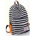Simple Color Block Stripe Pattern Canvas School Bag Backpack 29*13*40 CM