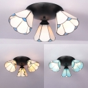 Tiffany Style Ceiling Mount Light 3 Lights White/Blue/Beige Glass Overhead Light for Bedroom