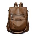 Stylish Large Capacity Plain Soft Leather Casual Shoulder Bag Backpack 29*12*35 CM